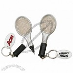 Tennis racket key chain with handle that unscrews to reveal pen