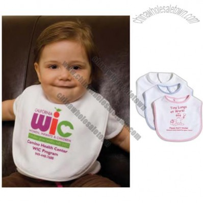 Terry baby bib white with contrasting trim
