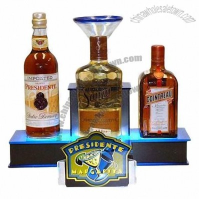 Three Bottle Glorifier/Bottle Back Bar Display with Laser Cut Acrylic Base and LED Up Light Bottle