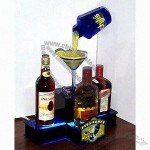 Three Bottle Glorifiers/Bottle Back Bar Displays with Laser Cut Acrylic Base and LED up Light Bottle