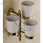 Three Brass Tumbler Holder, PVD Finish