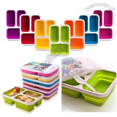 Three Grid Folding Silicone Lunch Boxes