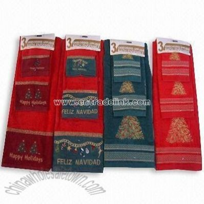 Three-piece Cotton Towel Set in Christmas Design