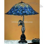 Tiffany Peacock Feather Table Lamp
