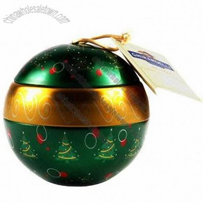 Tin Christmas Ball with 4-color Offset Printing