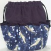 Tinkerbell Blue on Navy Canvas Bingo Bag Tote 10 Dauber Pockets