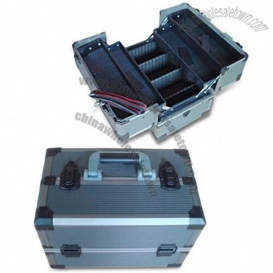 Toolbox with Four Plastic Trays Inside and Gray Stripe ABS Surface