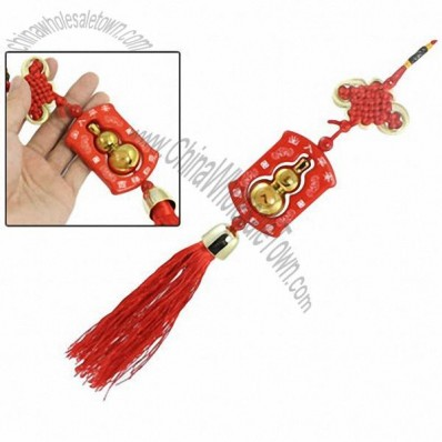 Traditional Festal Red Tassel Pendant Calabash Ornament Chinese Knot