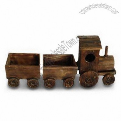 Train Shaped Wooden Flower Pot