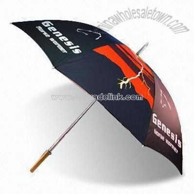 Transfer Print Golf Umbrella with Straight Wooden Handle