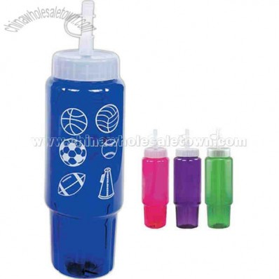 Translucent 30 oz. sport bottle with a frosted cap tip and straw