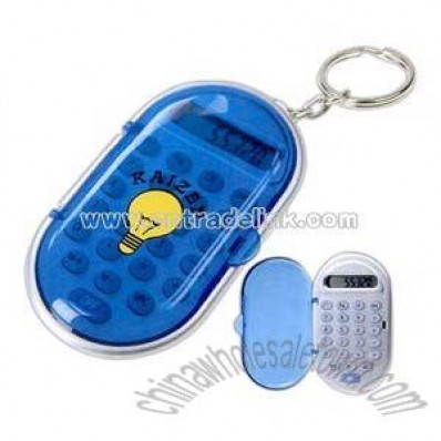 Translucent blue covered calculator key chain with gloss cover