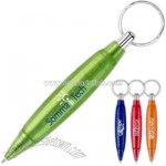 Translucent color barrel click action pen with split ring