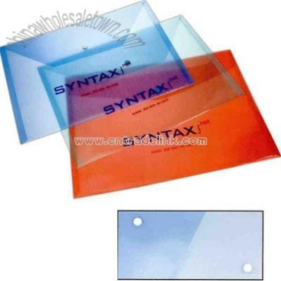 Translucent flat envelopes with snap closure.