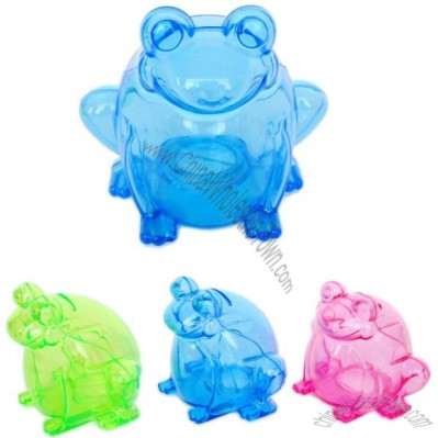 Transparent Frog Plastic Money Coin Bank
