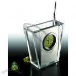 Transparent Penholder with Calendar & Clock