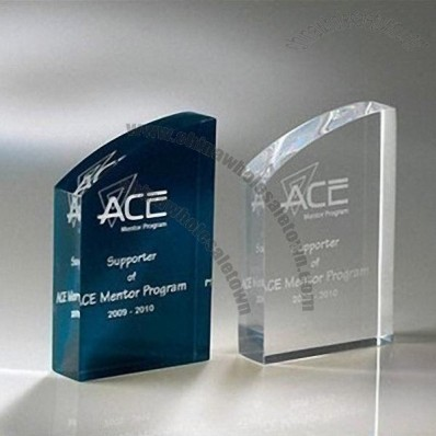 Transparent acrylic trophy with logo