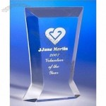 Transparent blue corporate acrylic trophy award present