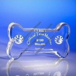 Transparent bone shaped corporate acrylic trophy