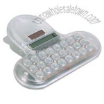 Transparent dual power clip calculator with soft touch keys and magnet