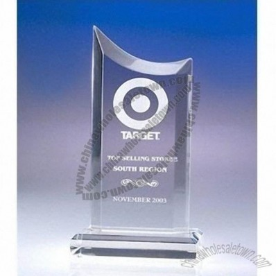 Transparent elegant pointed acrylic trophy/award