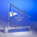 Transparent flag shaped acrylic trophy