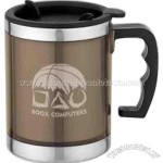 Transparent plastic outer travel mug with removable low profile lid