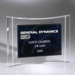 Transparent quadrate acrylic trophy award