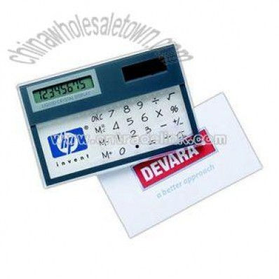 Transparent solar pocket calculator with 8 digit LCD display