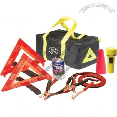Travel smart with this highway emergency kit which carries 2 roadside triangles and essential accessories