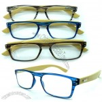 Trendy 2015 Fashionable Colorful Compact Reading Glasses Bamboo Arm Glasses with Tiny PC Frame