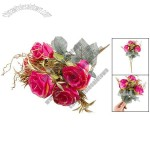 Tri Color Leaves Hot Pink Artificial Rose 7 Flowers Wedding Bouquet Decor 17.3