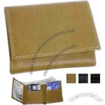 Tri-fold wallet with ID window pocket, card slots, and flap pockets