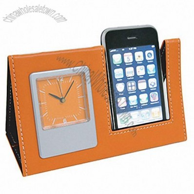 Triangle Leather Clock with Phone Holder