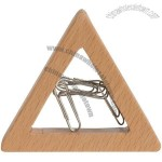 Triangle Wooden Magnetic Paper Clip Holder