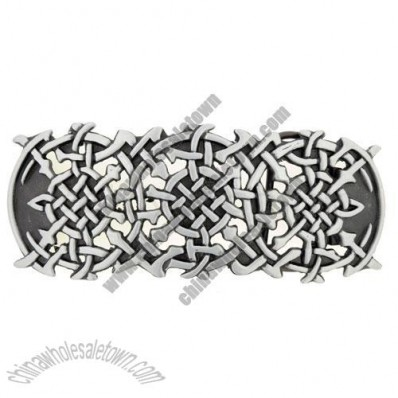 Tribal Silver Belt Buckle (Wide Shields)