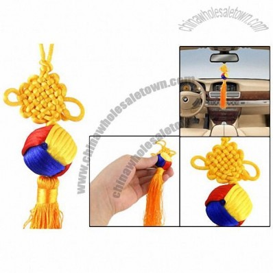 Tricolor Lucky Ball Pendant Yellow Chinese Knot Ornament for Vehicles