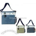 Triple Stripe Tote Bag w/ a Front Slip Pocket & Metal Key Ring