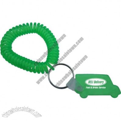 Truck shape back cut key tag with translucent wrist coil and split ring