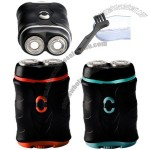 Twin blade, independent floating head razor electric shaver two AA battery operated