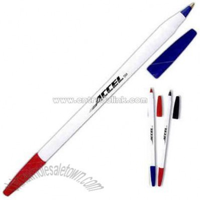 Twin writer stick pen with white body.