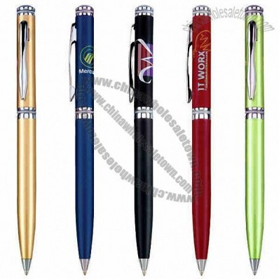 Twist action ballpoint pen featuring solid brass barrel with shiny chrome trim