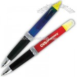 Twist action retractable ballpoint pen and highlighter combo