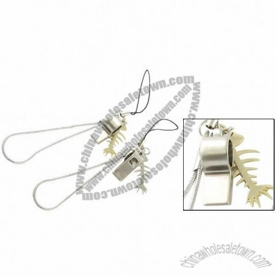 Two Piece Metal Fish Bone Whistle Pendant Cell Phone Strap for Lovers