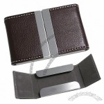 Two-way Open Stainless Steel Leather Business Card Cases