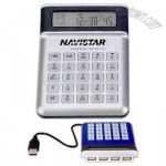 USB 4 port hub calculator/clock