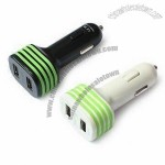 USB Car Chargers with Dual-function, 12V DC Input Voltage and Suitable for MP3/MP4/MP5 Players