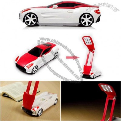 USB Rechargeable Racing Car Shaped 17-LED Light Folding Desktop Book Lamp