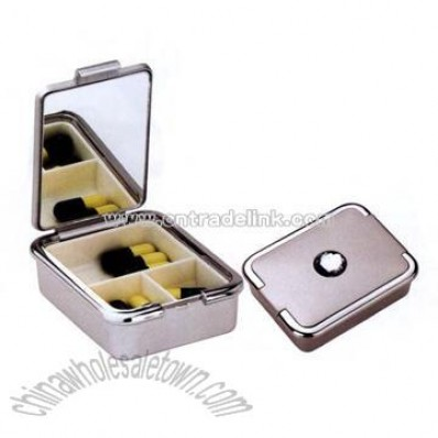 UV coated pill box with 3 compartments and mirror