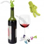 Umbra Drinking Buddy 6 Wine Charms Cocktail Party Glass Markers & Bottle Stopper